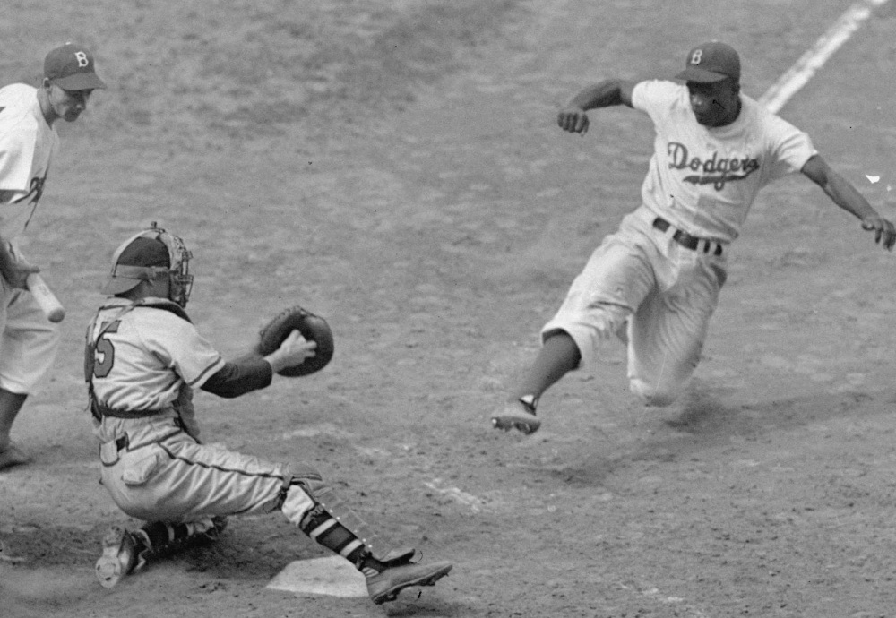 Jackie Robinson never showed fear, whether it was charging down the line or facing adversaries while with the Dodgers.