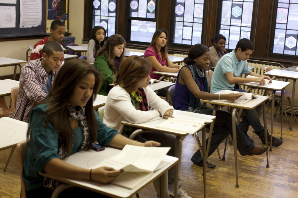 High school students at Columbia High School in Maplewood, N.J., take the SAT.