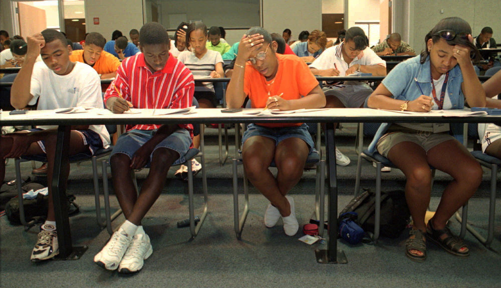 High school juniors try to stay focused as they take the SAT test as part of the Career Enrichment Program for Minority Students at Clemson University in Clemson, S,C.