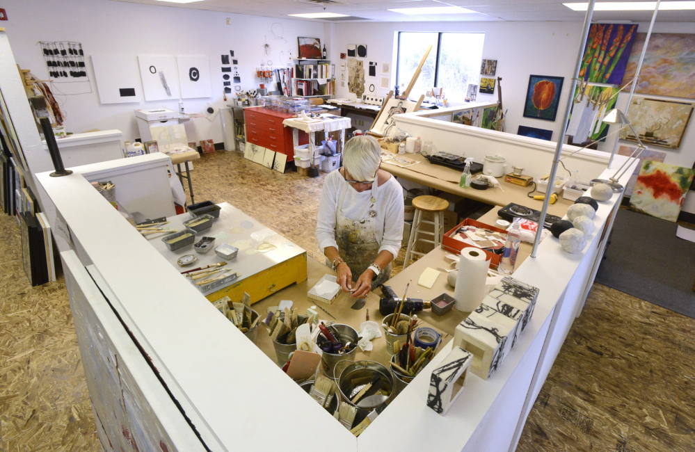 PORTLAND, ME - APRIL 9: Running with Scissors has a refurbished a building on Anderson st. in Portland that provides studio space for artists like Encaustic artist Susie Schweppe. (Photo by John Patriquin/Staff Photographer)