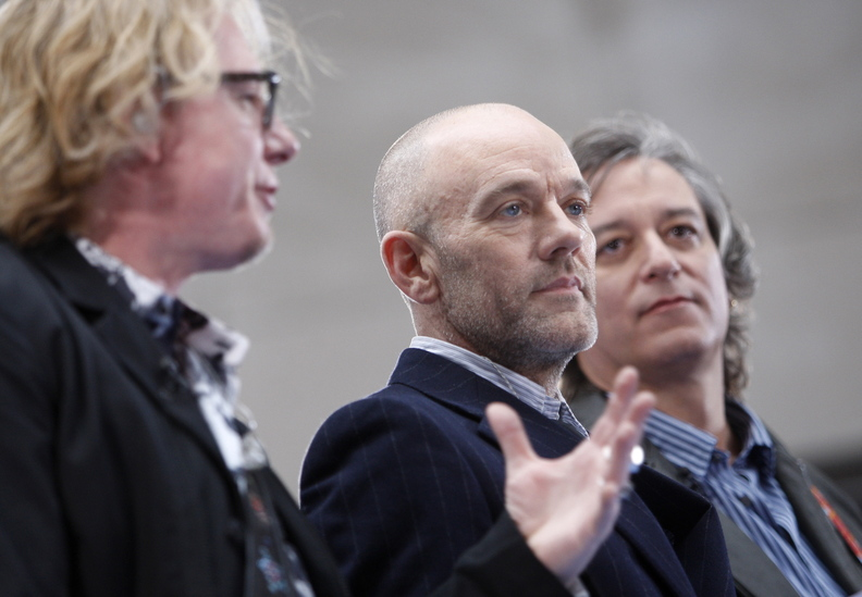 R.E.M.: From left, Mike Mills, Michael Stipe and Peter Buck.