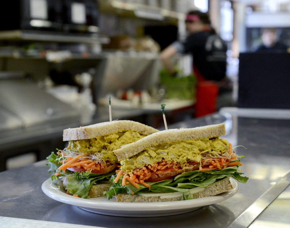 A curry chicken salad sandwich at Wild Oats Bakery & Cafe, a popular spot in the Tontine Mall in Brunswick.