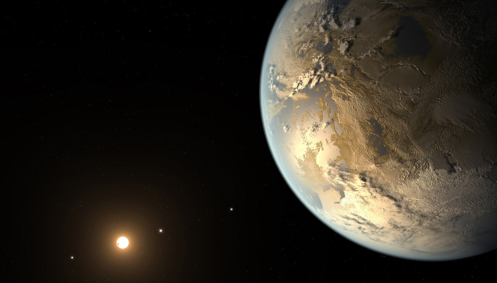 Artist's rendering shows an Earth-size planet dubbed Kepler-186f orbiting a star 500 light-years from Earth.