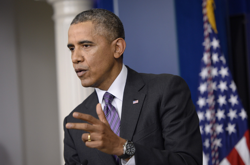 President Barack Obama speaks in the briefing room of the White House in Washington on Thursday. The president spoke about health care overhaul and the situation in Ukraine.