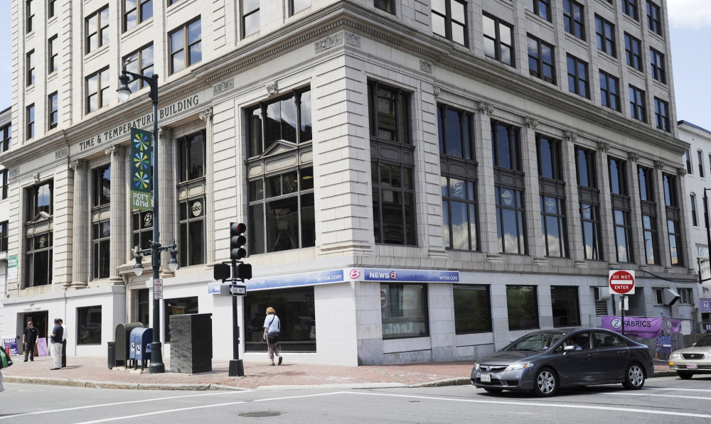 News station WMTW-TV, now housed on Congress Street in Portland, above, will move into the Westbrook studio occupied by TV stations WPME and WPXT once it leaves Portland this fall.