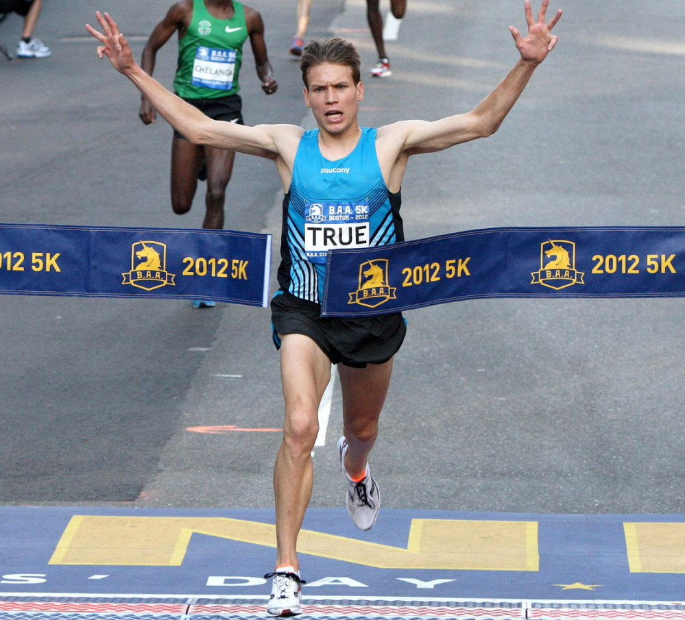 Ben True passed three Africans to win the 2012 Boston Athletic Association 5K race in a record time of 13:41, and he'll try to win the race Saturday for the third time in four years.