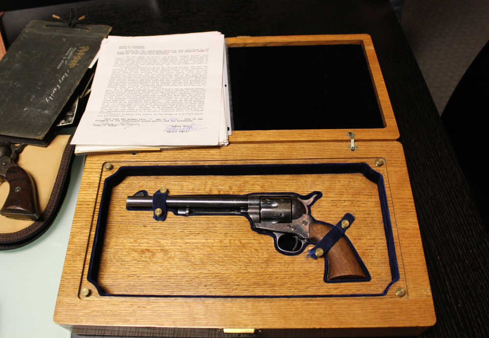 This Colt .45 revolver believed to have been carried by Wyatt Earp during the O.K. Corral shootout in Tombstone, Ariz., was sold for $225,000 at an auction Thursday in Scottsdale, Ariz.