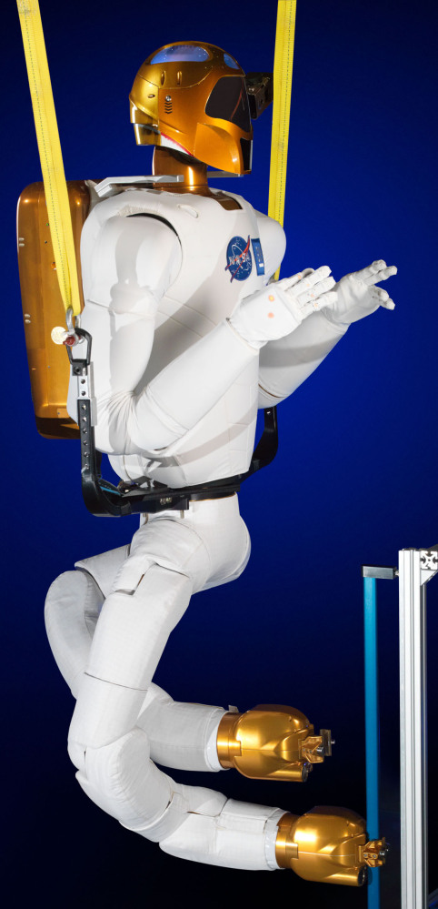 Photo made available by NASA shows the Robonaut with legs at a lab in Houston.