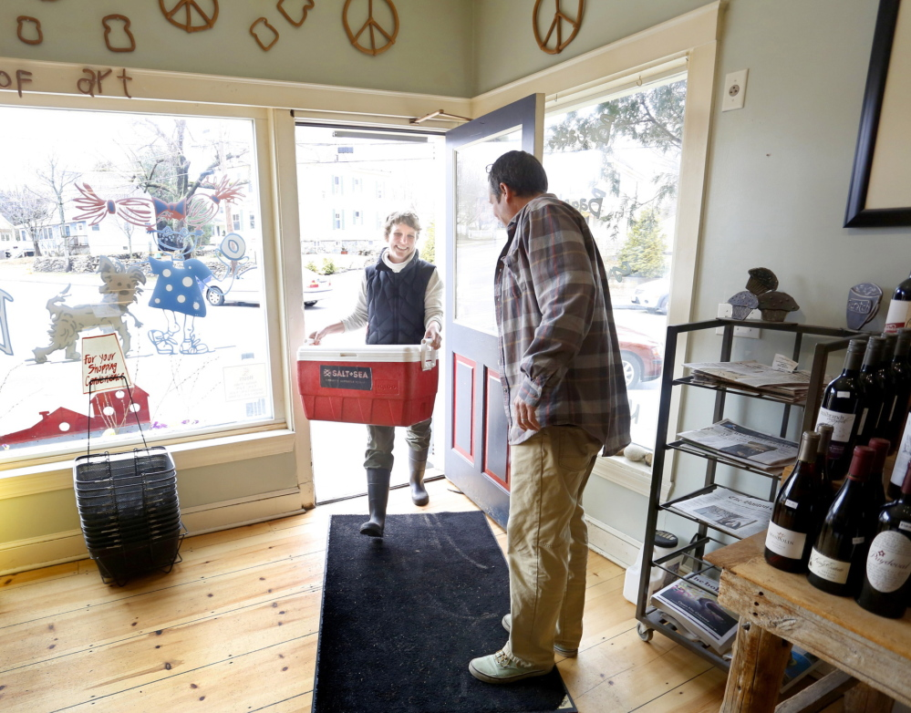 Simon makes a delivery to Scratch Bakery in South Portland.