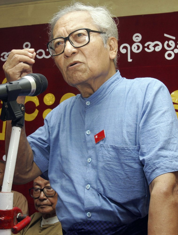 Win Tin, a newspaper editor who fought for democracy in Myanmar, is shown speaking in April 2009.
