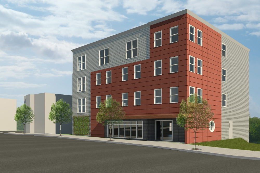 This is an artist's rendering of the 18-unit complex that Avesta Housing is proposing to build at the site of 134 Washington Ave. in Portland.
