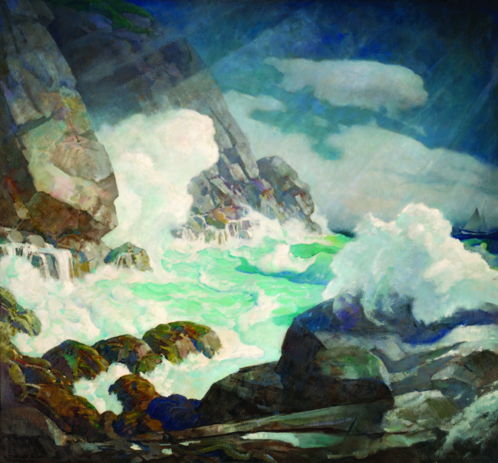 "N.C. Wyeth, ""Maine Headland, Black Head, Monhegan Island."""