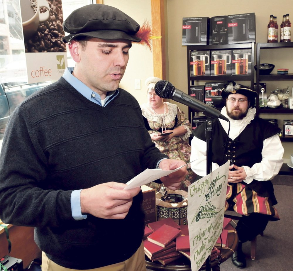 Fairfield Town Manager Josh Reny was one of many people to read one of Shakespeare's sonnets in Waterville Wednesday on the 450th anniversary of his birth. At right is Joshua Fournier, dressed as the Bard.