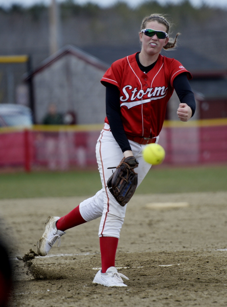 Scarborough pitcher Alyssa Williamson fires the ball to the plate while pitching against Bonny Eagle on Wednesday.