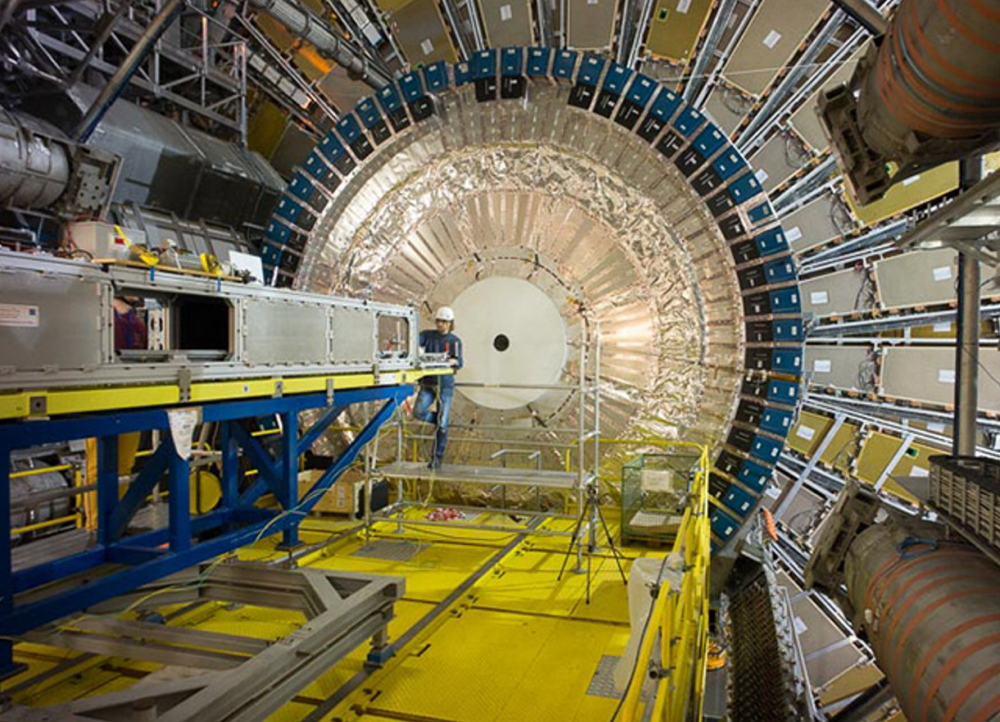 An image of the Calorimeter inside the Hadron Collider in Switzerland featured in the film
