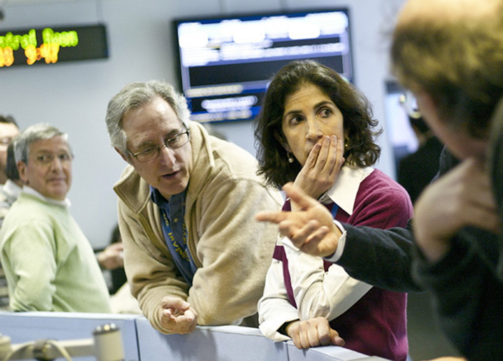 Fabiola Gianotti celebrating in the ATLAS control room, March 29, 2010, the day of First High Energy Collisions.