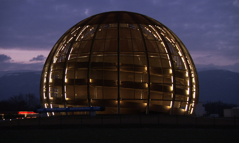 CERN Globe of Science and Innovation at night.