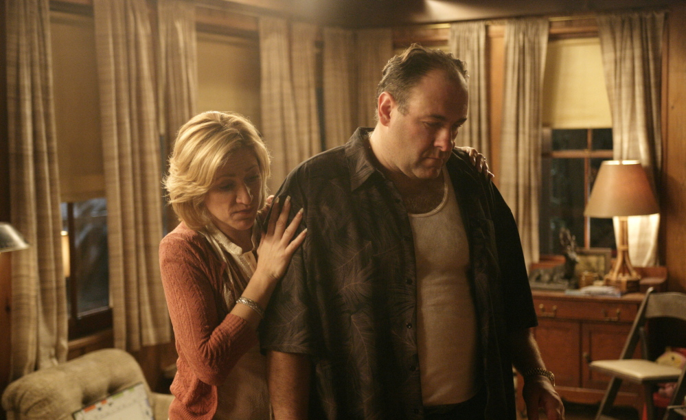 """Edie Falco and James Gandolfini star in the hit HBO series """"The Sopranos."""" The companies did not say how long consumers can count on getting HBO through Amazon Prime."""