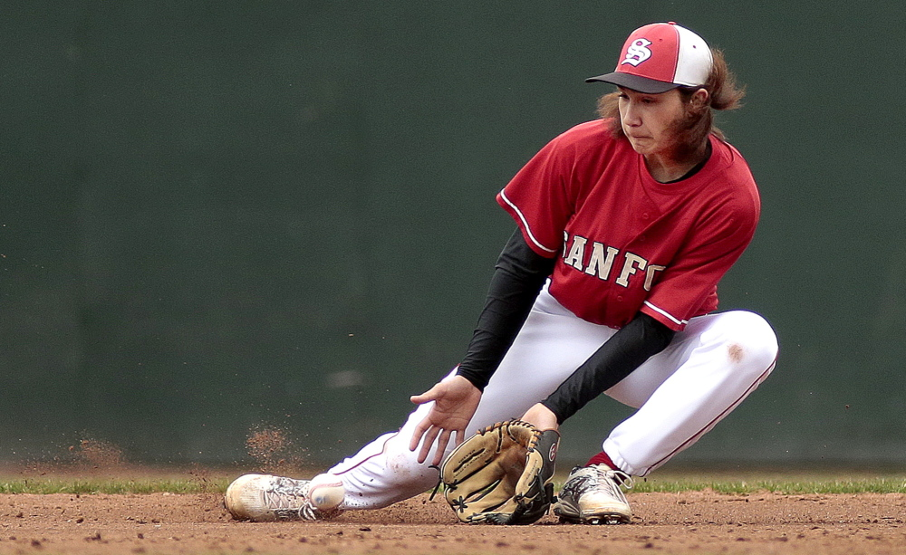 Sanford shortstop Jimmy Parks slides to his right to gain control of a grounder and make the throw to first base Wednesday during the first inning of the 1-0 victory against Portland in an SMAA opener at Hadlock Field.