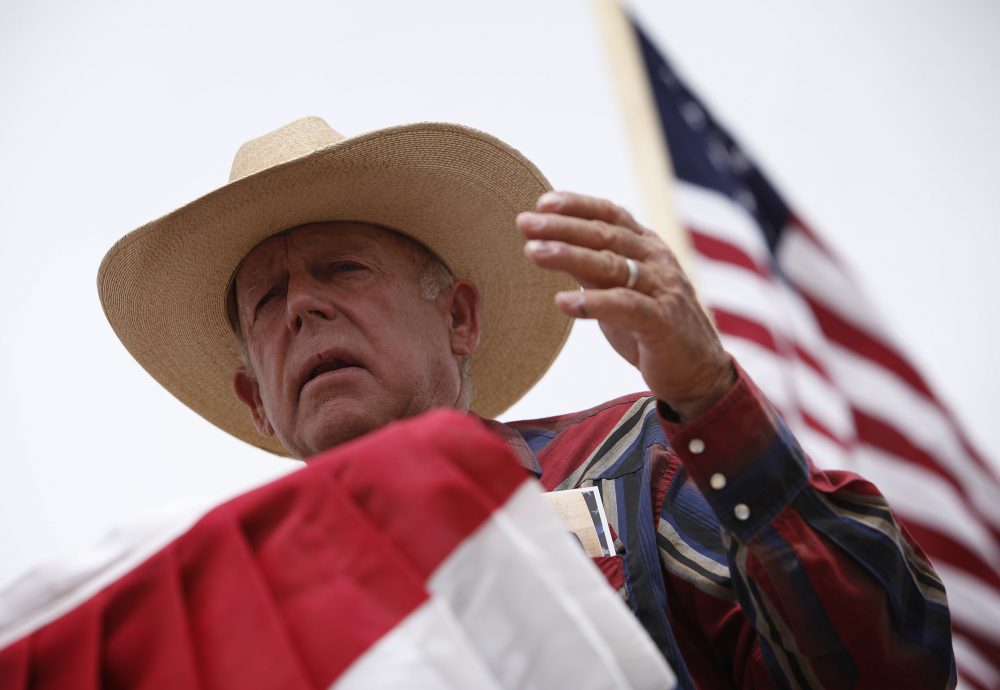 Rancher Cliven Bundy speaks at a protest camp near Bunkerville, Nev., last Friday.