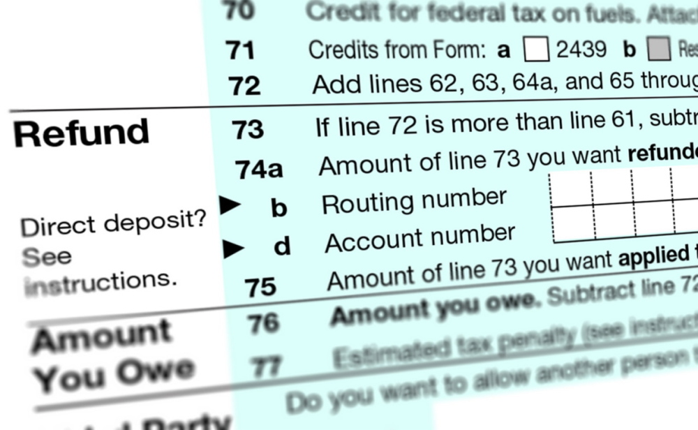 Photo of a U.S. Individual Income Tax Return