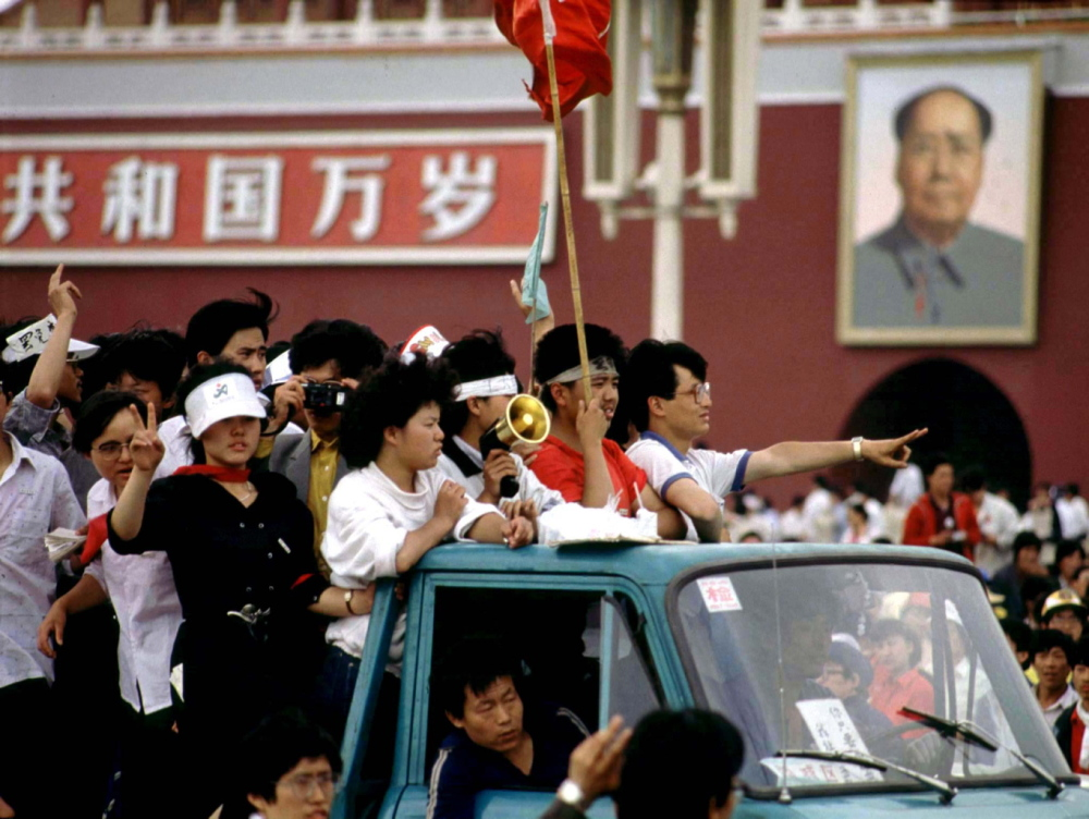 Student protesters arrive at Tiananmen Square to join other pro-democracy demonstrators.