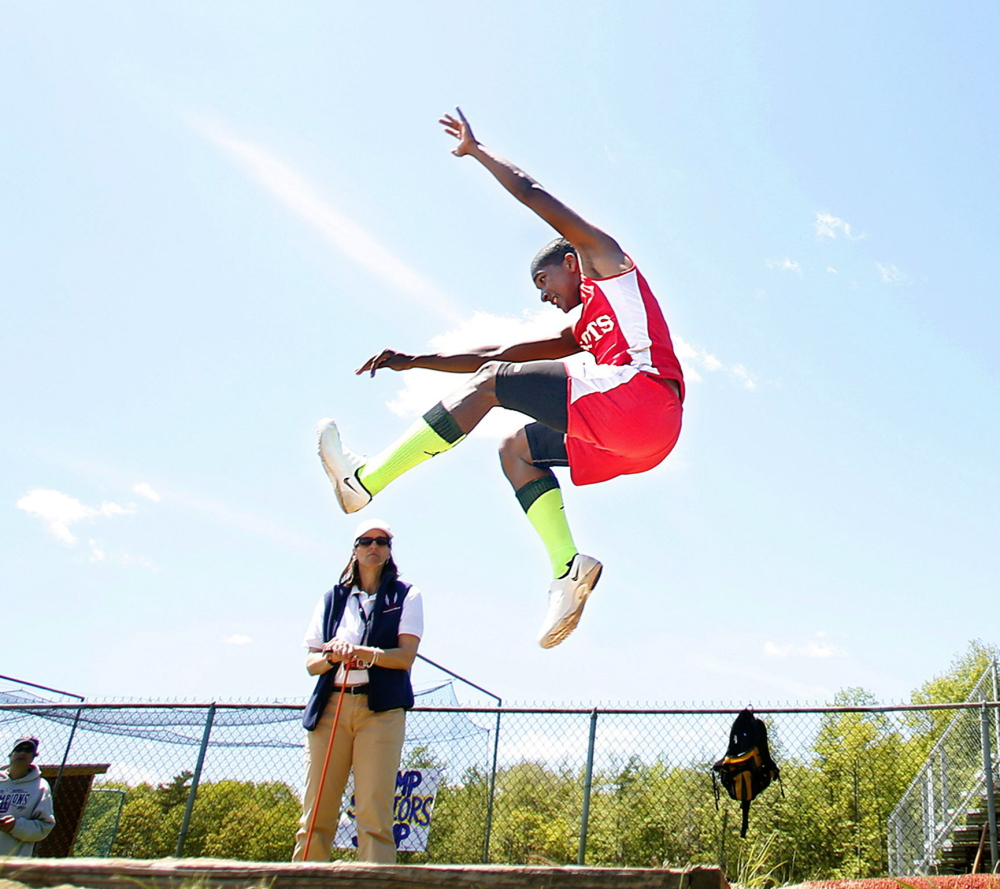 Michael Cuesta of South Portland High, competing in the triple jump at the SMAA meet last season, will be one of the favorites to capture the event in Class A after taking the state title during the indoor season. Cuesta was seventh in the state outdoors in 2013.
