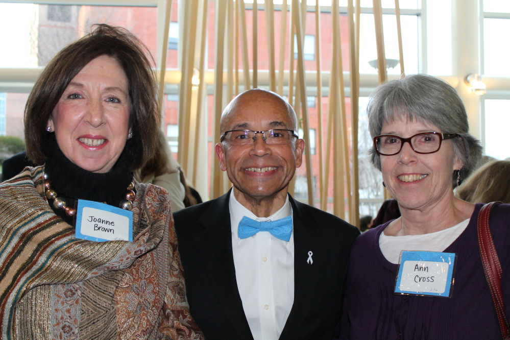 Hector Tarraza, MD, chief of obstetrics and gynecology at Maine Medical Center and volunteer medical director of Partners for World Health, and his administrators Joanne Brown and Ann Cross at Blue Wrap Project Runway 2014