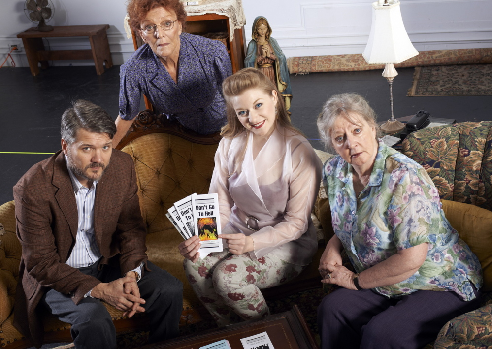 "Father Murphy (Charlie Kevin), Mary (Cristine McMurdo-Wallis), Melissa (Courtney Moors), and Margaret (Maureen Butler) in the upcoming production of Evan Smith's ""The Savannah Disputation"" at Portland Stage Company."