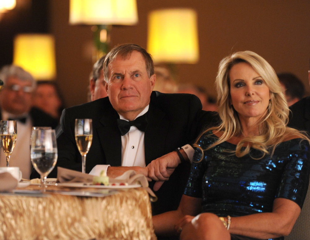 New England Patriots head coach Bill Belichick and Linda Holliday at the 4th annual Kelly Cares Foundation's Irish Eyes Gala on April 23, 2014, in New York.