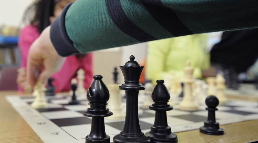 A chess tournament at Portland's East End School, where 74 percent of students qualify for nutrition assistance. It's no coincidence that this school got an F in last year's state rankings: Most students who live in stressed environments aren't equipped to learn at a high level.