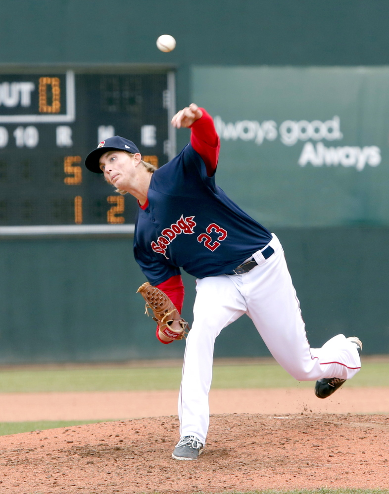 Portland Sea Dogs starting pitcher Henry Owens delivers a pitch against the Trenton Thunder at Hadlock Field on Sunday.