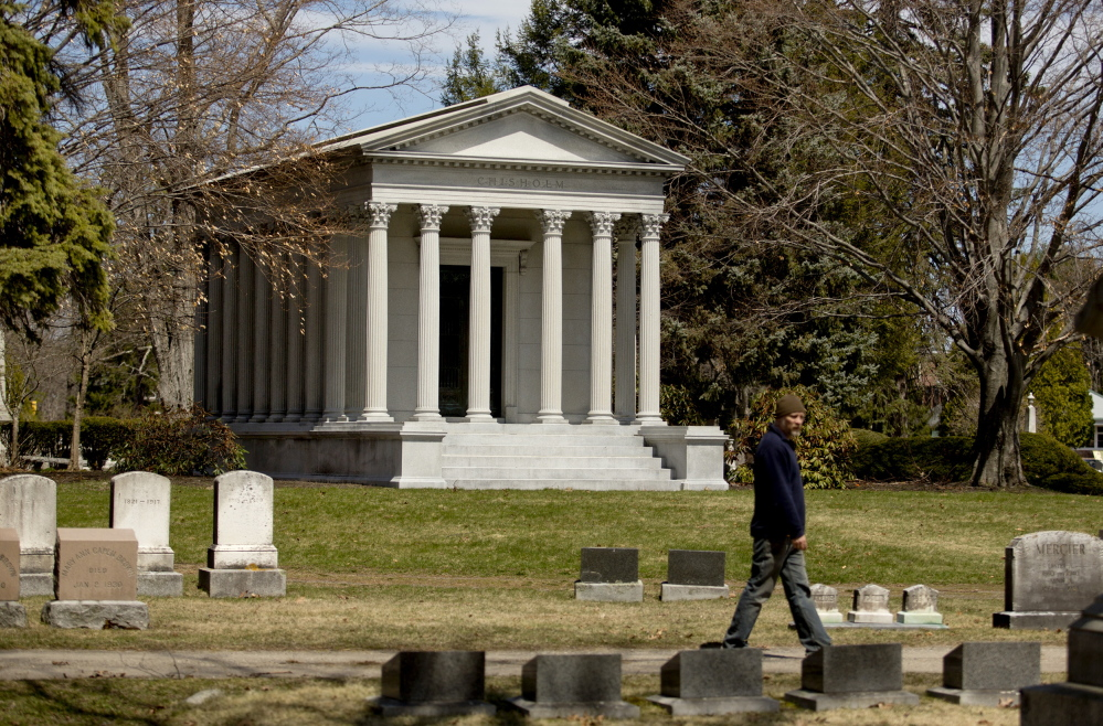 Prominent Maine industrialist Hugh J. Chisholm is buried in this granite mausoleum in Portland's Evergreen Cemetery. At the time of his death in 1912, he was the most powerful man in the pulp and paper industries of North America.