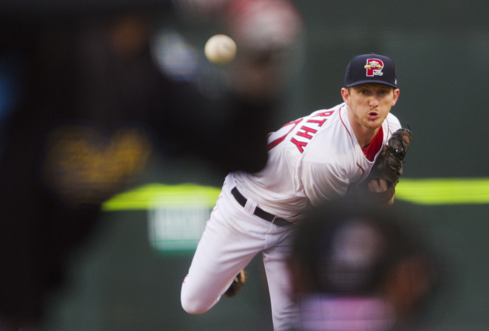 Portland's Mike McCarthy delivers against the Reading Fightin Phils at Portland's Hadlock Field in Portland on Monday. McCarthy had a strong game in an 8-6 win, throwing 54 strikes out of 85 pitches overall.