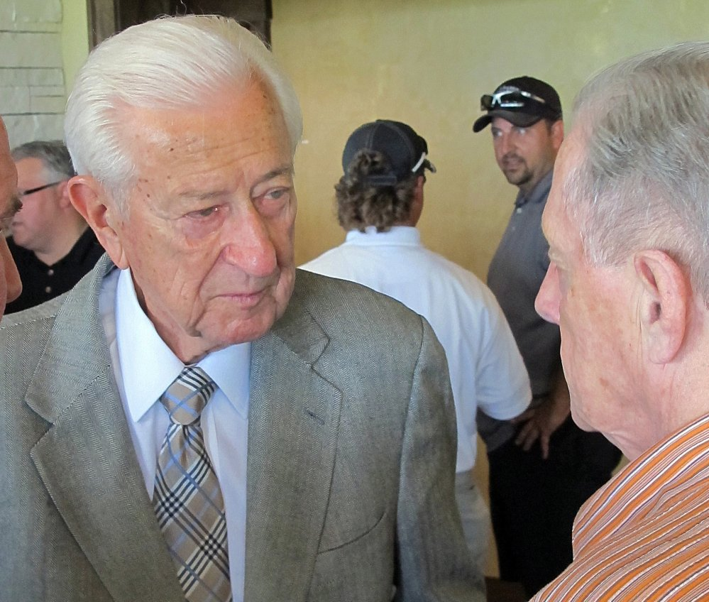 """U.S. Rep. Ralph Hall mingles with fellow military veterans at a weekly """"Band of Brothers"""" happy hour he attends nearly every week in his hometown of Rockwall, Texas."""