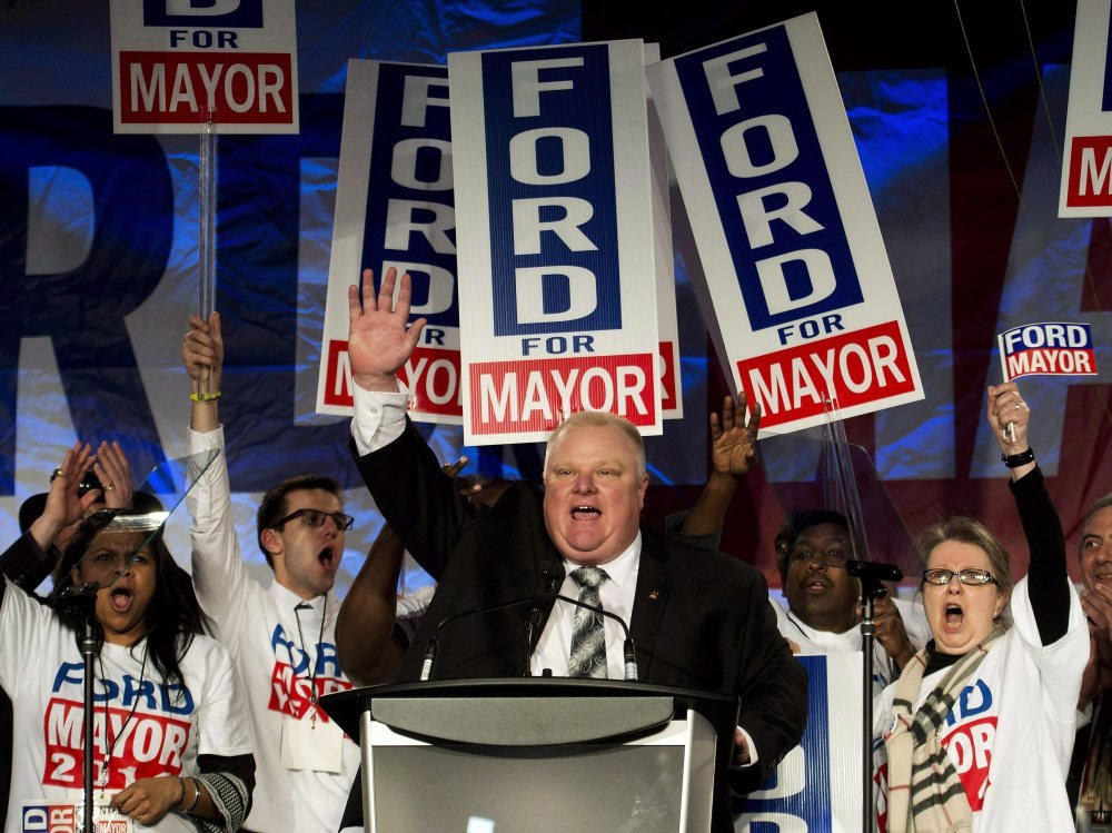 Toronto mayor Rob Ford speaks to supporters during his campaign launch April 17 in Toronto. on Wednesday, Ford's lawyers said he will take a leave of absence to seek help for substance abuse.