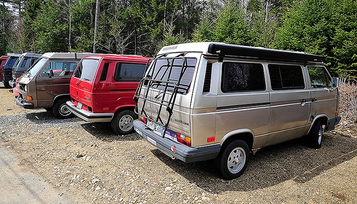 Volkswagen Vanagons wait for attention outside Foreign Auto & Supply Inc. in Harpswell.