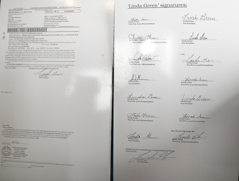 """In this May 2011 file photo, signatures on different loan documents all """"signed"""" via robo-signing. A panel for the Maine Board of Overseers of the Bar has recommended disciplinary action against one of three Maine lawyers accused of mishandling the response to a 2010 revelation tied to """"robo-signing."""""""