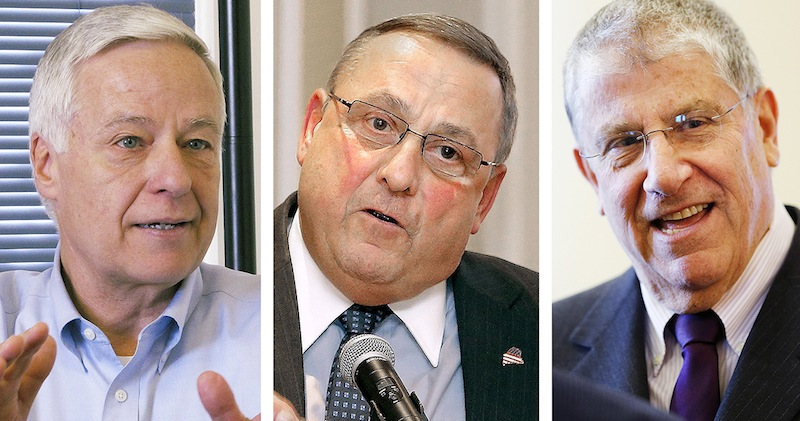 From left: Democartic candidate and U.S Rep. Mike Michaud; Gov. Paul LePage; Independent candidate Eliot Cutler.