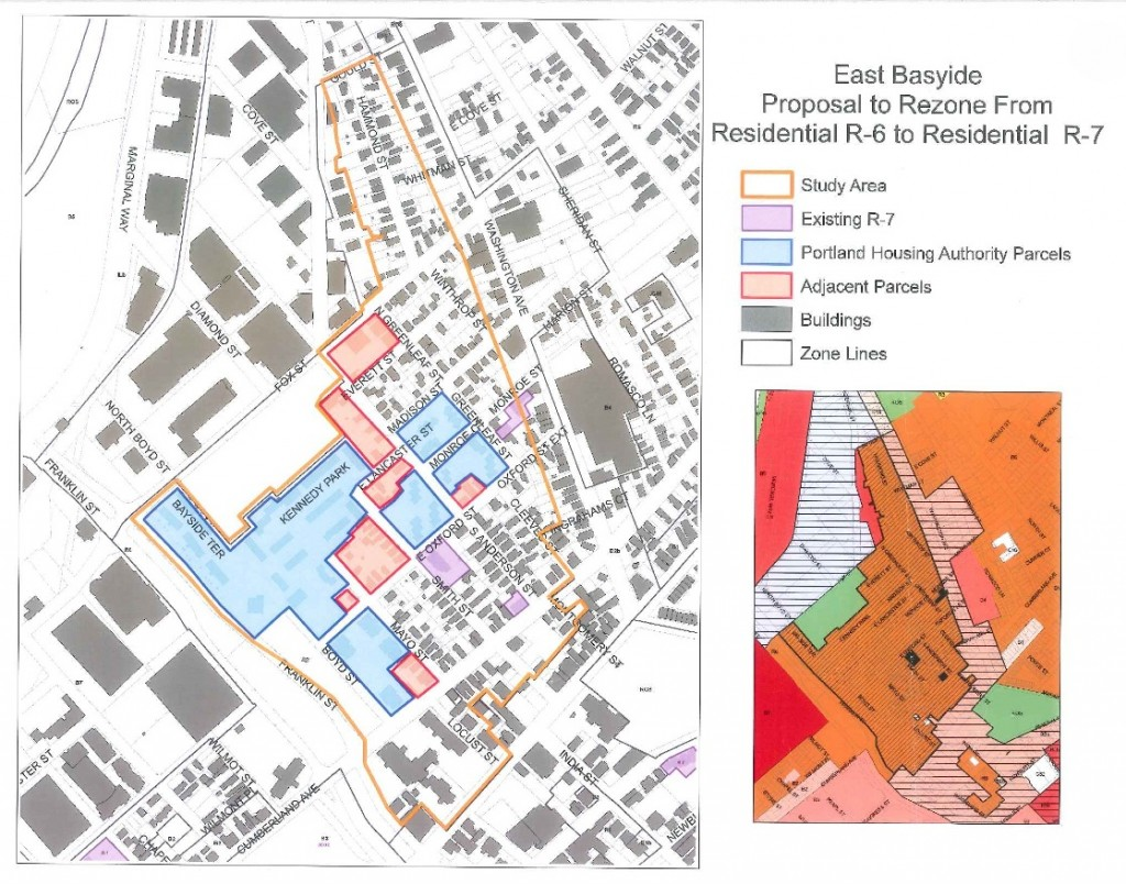 This is a map of the proposed area to be rezoned in the East Bayside neighborhood.