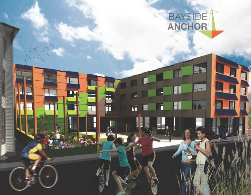 Bayside Anchor, as seen in this artist's rendering, would provide apartments to households making up to $45,000.