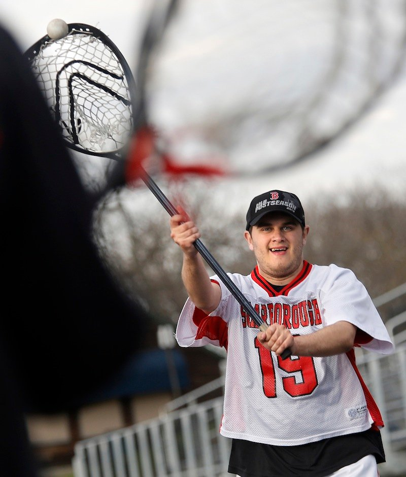 Scarborough junior varsity lacrosse player Teddy Prosack throws the ball May 1 at Fitzpatrick Stadium.