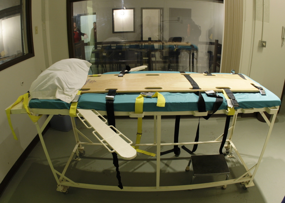 The execution chamber at the Washington State Penitentiary stands empty in Walla Walla, Wash. A botched execution in Oklahoma raises questions about the process.