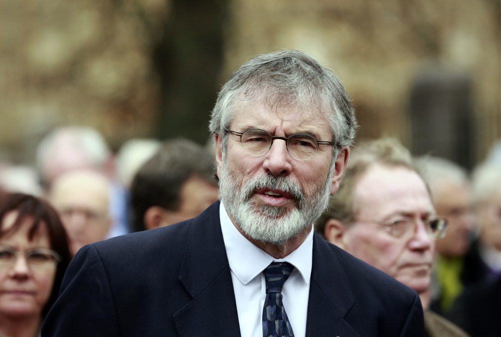 Sinn Fein President Gerry Adams attends the funeral of Father Alec Reid at the Clonard Monastery in west Belfast in November. Reid was a key player in helping negotiate the Northern Ireland peace process.