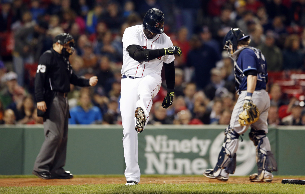 Red Sox designated hitter David Ortiz reacts after lining out in the fourth inning of the second game of a doubleheader against the Tampa Bay Rays in Boston on Thursday.