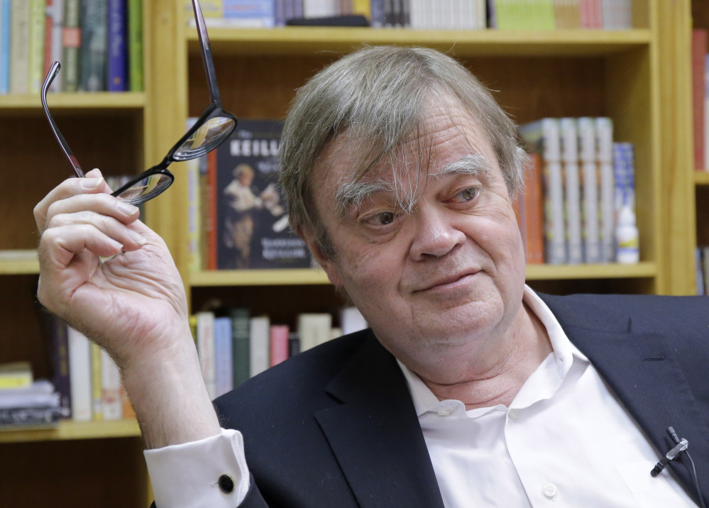 Garrison Keillor speaks in his office in St. Paul, Minn., on Tuesday.