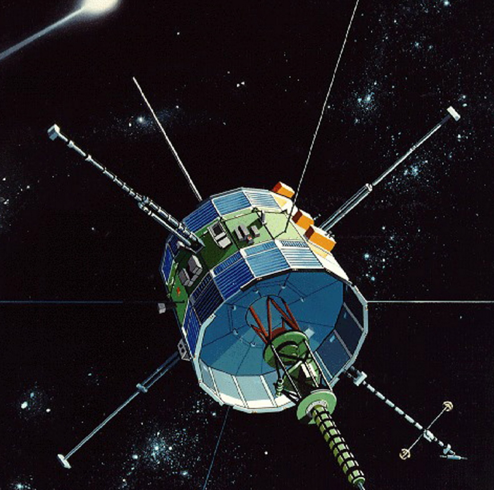 Launched in 1978 to study space weather, the ISEE-3, as depicted in an artist's conception, will be revitalized from afar if a collection of modern space buffs succeeds without any NASA funding.