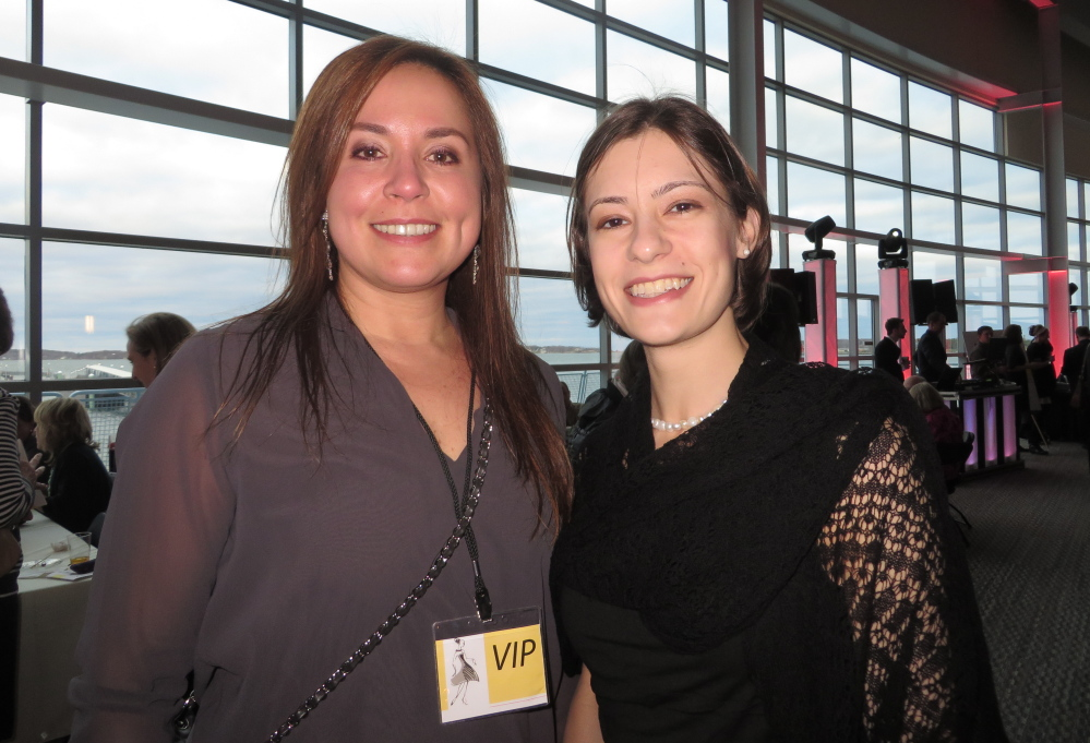Bianca Monteiro of Cape Elizabeth and Rebecca Dreher of Portland supporting veterans through the Goodwill Little Black Dress Event