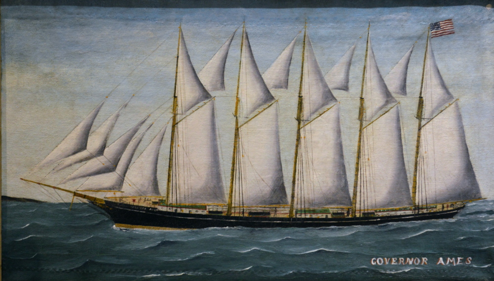 "Josiah Speering, ""Five-Mast Schooner Gov. Ames,"" oil on canvas. Built in Waldoboro in 1888, this was the first five-mast schooner built on the East Coast. The artist served on the ship's crew in 1909."