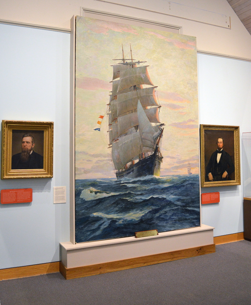 "Charles Patterson's giant oil on canvas, ""Ship W.R. Grace 'Report Me All Well' """